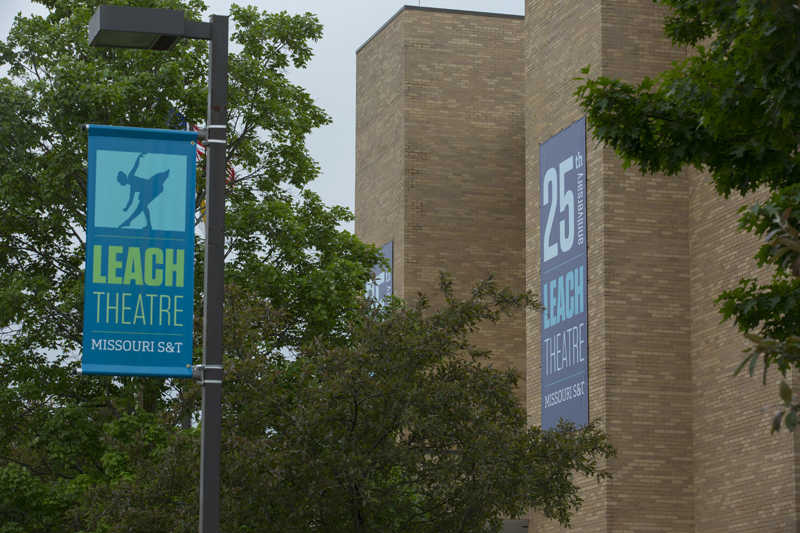 Leach Theatre banners outside Castleman Hall
