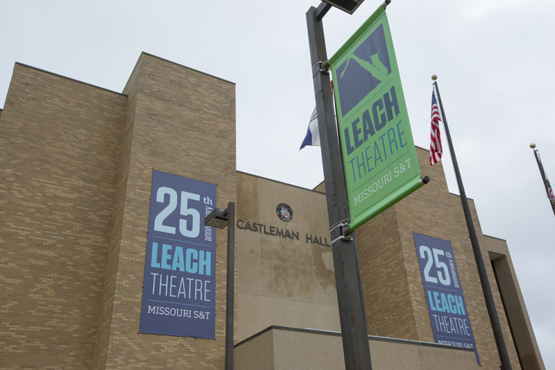 Leach Theatre banners outside of Castleman Hall